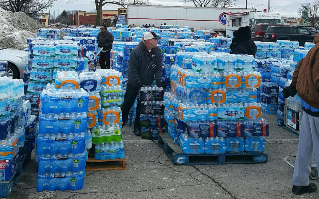 LOCAL NONPROFIT EMPLOYEES STEP UP COLLECTING THOUSANDS OF BOTTLES OF WATER TO HELP FLINT RESIDENTS