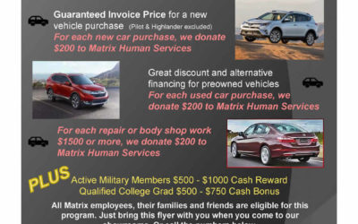Exclusive Friends & Family Deals from Page Honda & Page Toyota offer support to Matrix Human Services